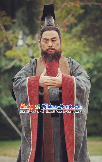Chinese Ancient Warring States Time Qin State Emperor Ying Ji Replica Costume for Men