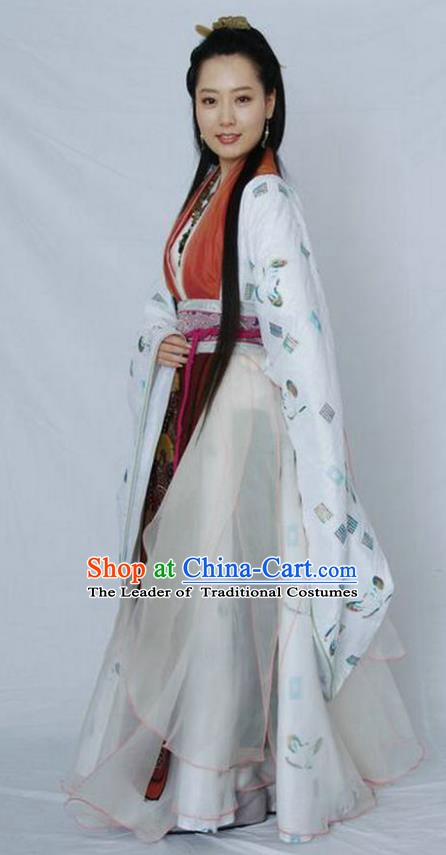 Ancient Chinese Qin Dynasty Imperial Concubine Li Hanfu Embroidered Replica Costume for Women