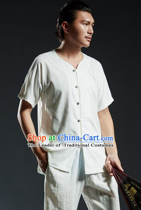 Chinese Kung Fu Martial Arts White Shirts Gongfu Costume Wushu Tai Chi Clothing for Men