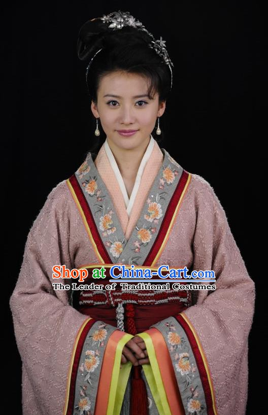 Traditional Chinese Ancient Warring States Period Palace Lady Zheng Dan Hanfu Red Dress Embroidered Replica Costume for Women
