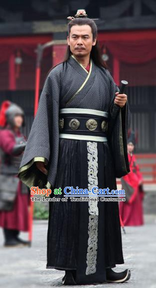 Traditional Chinese Ancient Qin State Royal Highness Chu Liji Replica Costume for Men