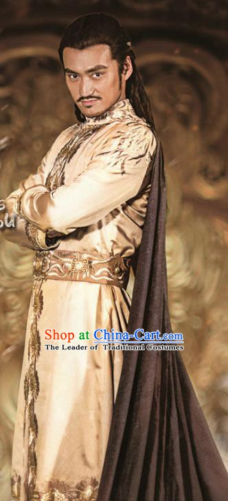 Ancient Chinese Han Dynasty Western Regions Prince Weng Gui Replica Costume for Men