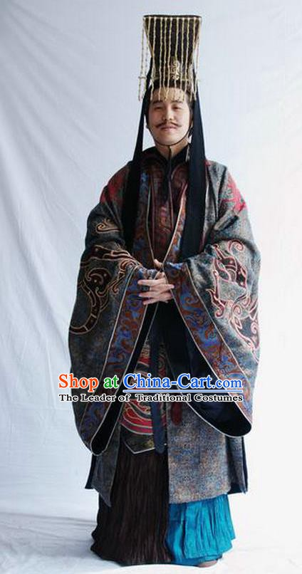 Ancient Chinese Han Dynasty First Emperor Liu Bang Replica Costume and Headpiece Complete Set for Men
