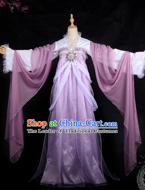 Chinese Ancient Palace Lady Ink Painting Costume Cosplay Swordswoman Purple Dress Hanfu Clothing for Women