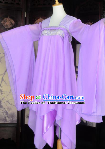 Chinese Ancient Female Knight Costume Cosplay Princess Fairy Purple Dress Hanfu Clothing for Women