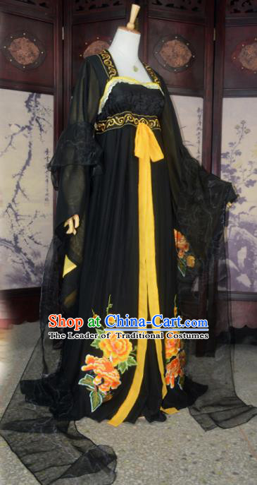 Chinese Ancient Palace Queen Costume Cosplay Princess Black Dress Hanfu Clothing for Women