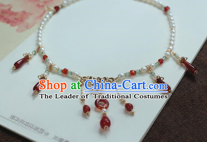 Traditional Chinese Ancient Handmade Hanfu Red Agate Necklace for Women