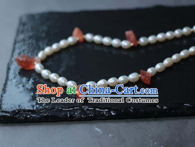Traditional Chinese Ancient Handmade Pearls Necklet Hanfu Necklace for Women