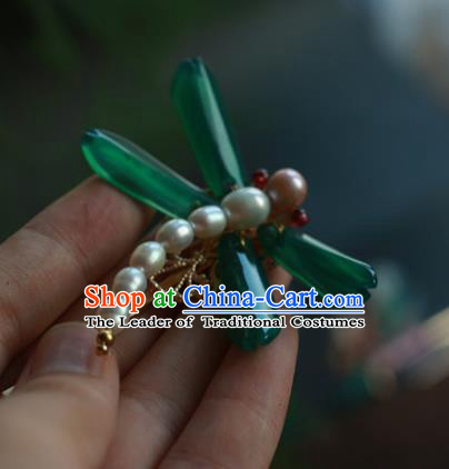Traditional Chinese Ancient Handmade Green Dragonfly Hair Stick Classical Hair Accessories Hairpins for Women