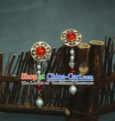 Traditional Chinese Ancient Handmade Red Hair Stick Classical Hair Accessories Hairpins for Women