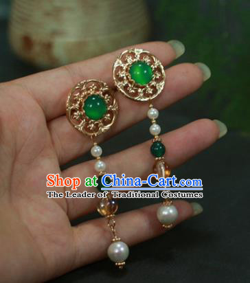 Traditional Chinese Ancient Handmade Green Hair Stick Classical Hair Accessories Hairpins for Women