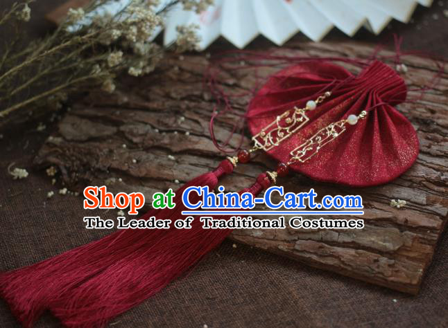 Traditional Chinese Ancient Handmade Red Cloth Purse Hanfu Sachet for Women