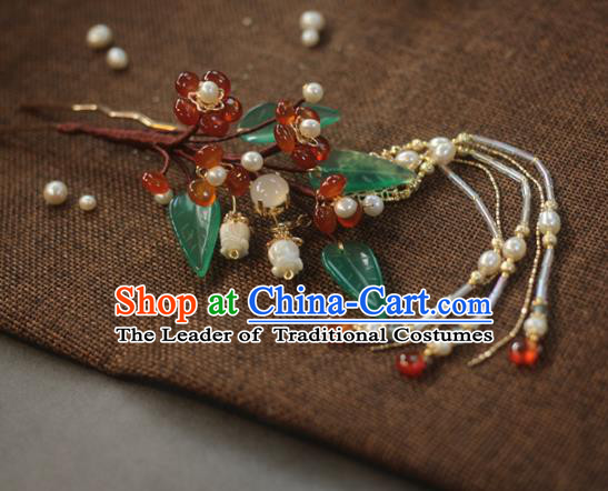 Traditional Chinese Ancient Hair Clip Hair Accessories Handmade Hanfu Tassel Hairpins for Women