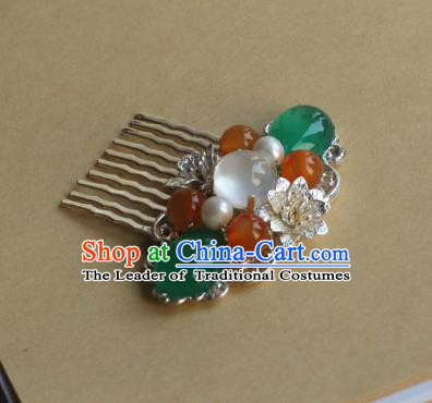 Traditional Chinese Ancient Jade Hair Comb Hair Accessories Handmade Hanfu Hairpins for Women