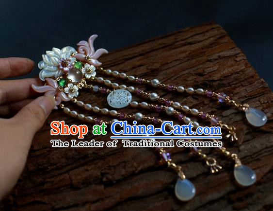 Traditional Chinese Ancient Pearls Tassel Hair Clips Hair Accessories Handmade Hanfu Hairpins for Women