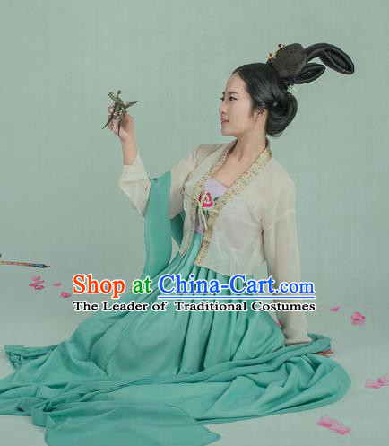 Traditional Chinese Ancient Palace Lady Costume, China Tang Dynasty Court Maid Clothing for Women