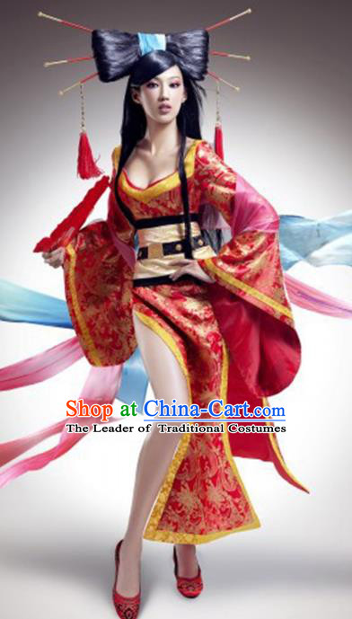 Traditional Chinese Ancient Banshee Costume, China Tang Dynasty Palace Lady Clothing for Women