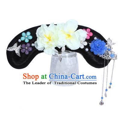 Chinese Ancient Manchu Princess Hair Accessories Wig and White Peony Hairpins Traditional Qing Dynasty Palace Lady Headwear for Kids