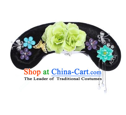 Chinese Ancient Manchu Princess Hair Accessories Wig and Green Peony Hairpins Traditional Qing Dynasty Palace Lady Headwear for Kids