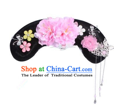Chinese Ancient Manchu Princess Hair Accessories Wig and Pink Peony Hairpins Traditional Qing Dynasty Palace Lady Headwear for Kids