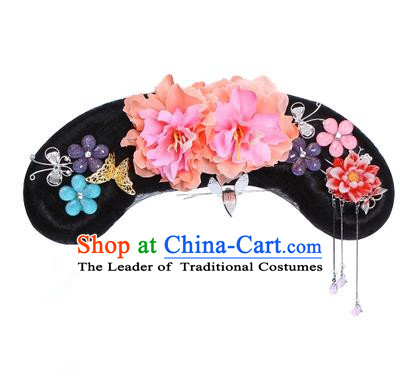 Chinese Ancient Manchu Princess Hair Accessories Wig and Orange Peony Hairpins Traditional Qing Dynasty Palace Lady Headwear for Kids