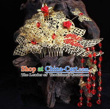Chinese Ancient Wedding Hair Accessories Xiuhe Suit Phoenix Coronet Traditional Palace Lady Headwear for Women