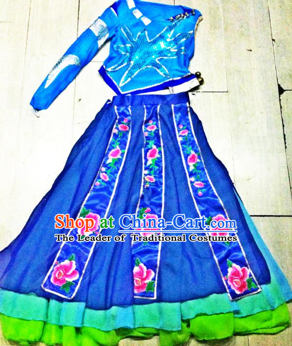 Traditional Chinese Miao Nationality Dance Costume, Folk Dance Hmong Minority Blue Dress for Women
