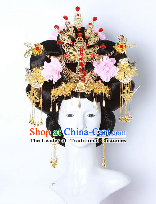 Chinese Ancient Hair Accessories Hanfu Imperial Consort Wig and Hairpins Traditional Palace Lady Headwear for Women