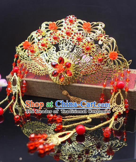 Chinese Ancient Hair Accessories Hanfu Hairpins Traditional Xiuhe Suit Phoenix Coronet Headwear for Women