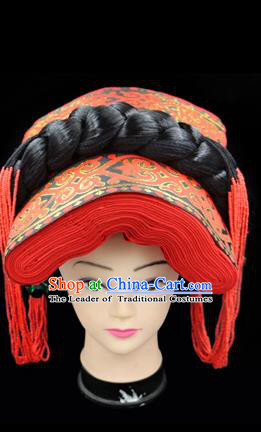 Chinese Traditional Yi Nationality Hair Accessories Yi Ethnic Minority Red Hats Headwear for Women