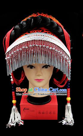 Chinese Traditional Yi Nationality Hair Accessories Yi Ethnic Minority Tassel Hats Headwear for Women