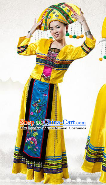 Traditional Chinese Zhuang Nationality Dance Costume, China Zhuangzu Ethnic Minority Clothing and Headdress for Women