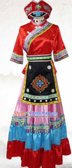 Traditional Chinese Kelao Nationality Costume, China Gelao Ethnic Minority Dance Clothing and Hats for Women