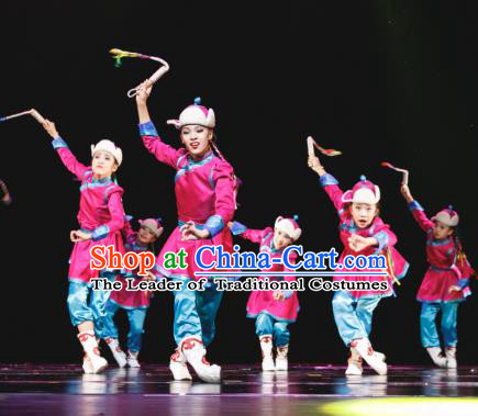 Traditional Chinese Mongolian Minority Folk Dance Costume, Children Mongols Dance Ethnic Dress Clothing for Kids