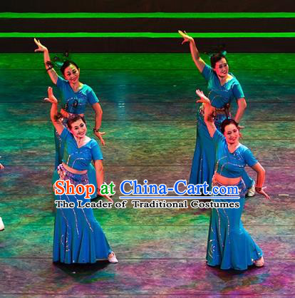 Traditional Chinese Folk Dance Yangge Dance Costume, China Yangko Classical Dance Blue Dress Clothing for Women