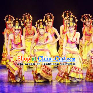 Chinese Traditional Folk Dance Stage Performance Costume, China Classical Dance Ethnic Minority Clothing for Women