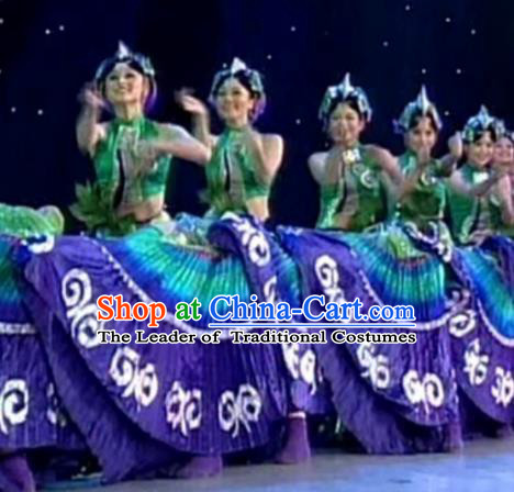 Chinese Traditional Folk Dance Stage Performance Costume, China Classical Dance Yi Ethnic Minority Clothing for Women