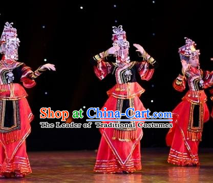 Traditional Chinese Yangko Dance Ethnic Costume, Folk Dance Miao Minority Nationality Dance Clothing for Women