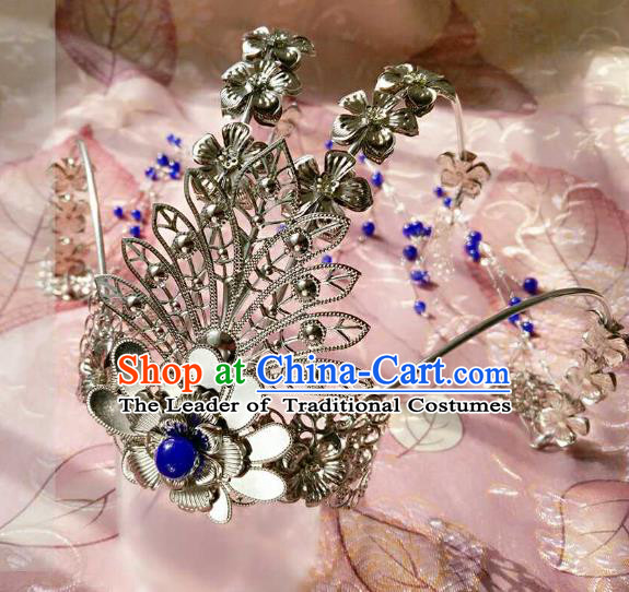 Chinese Traditional Ancient Hair Accessories Classical Blue Beads Tassel Phoenix Coronet Hanfu Hairpins for Women