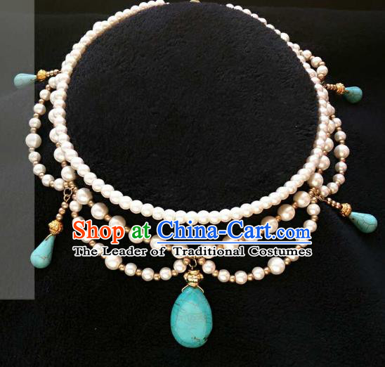 Chinese Traditional Ancient Accessories Classical Pearls Tassel Necklace Hanfu Necklet for Women