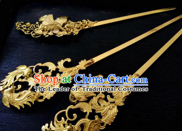 Chinese Traditional Ancient Hair Accessories Classical Hairpins Golden Phoenix Hair Stick Headwear for Women