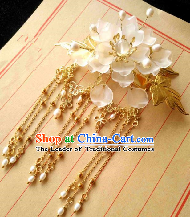Chinese Traditional Ancient Hair Accessories Classical Tassel Hair Crown Hanfu Hairpins for Women