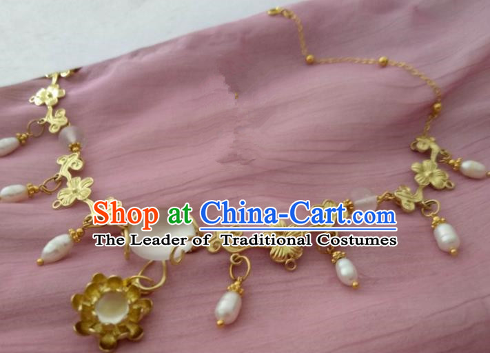 Chinese Traditional Ancient Accessories Classical Necklace Hanfu Pearls Necklet for Women