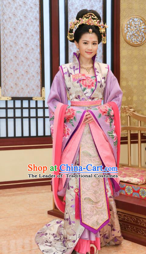 Chinese Ancient Palace Consort Zheng Hanfu Dress Tang Dynasty Imperial Concubine Embroidered Historical Costumes for Women