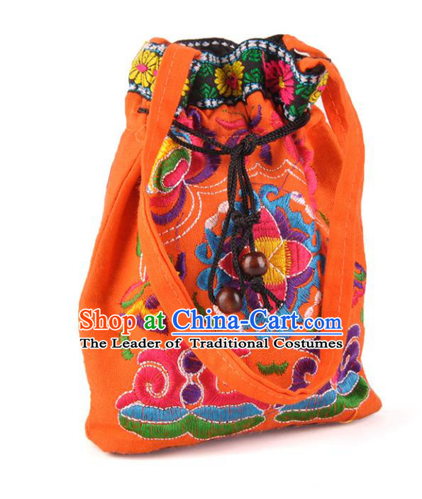 Chinese Traditional Embroidery Craft Embroidered Orange Pocket Bags Handmade Handbag for Women
