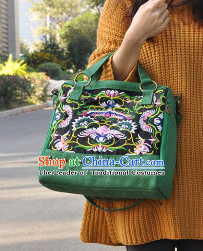 Chinese Traditional Embroidery Craft Embroidered Green Bags Handmade Handbag for Women
