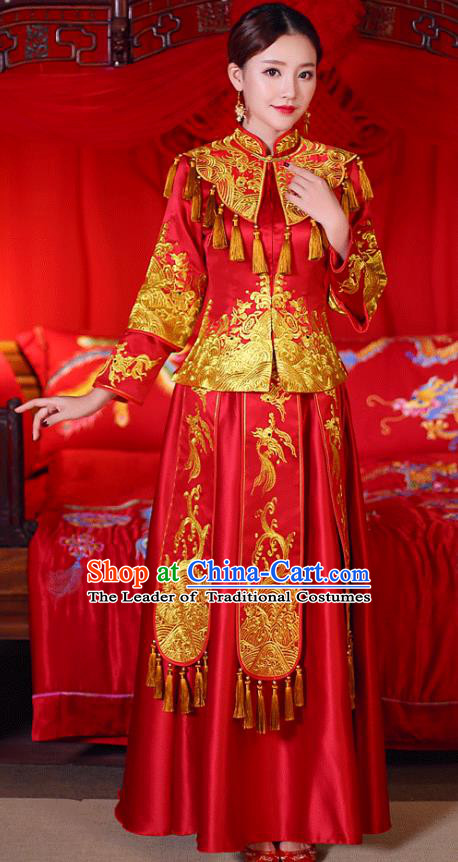 Chinese Traditional Wedding Dress Costume Golden Tassel Bottom Drawer, China Ancient Bride Embroidered Xiuhe Suit for Women