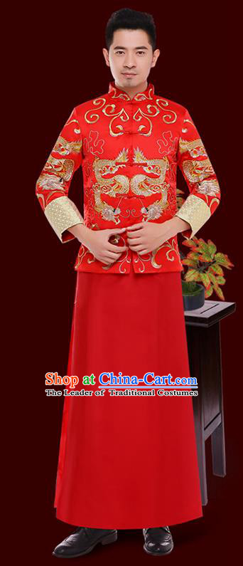 Chinese Traditional Bridegroom Embroidered Wedding Costume China Ancient Tang Suit Red Gown for Men