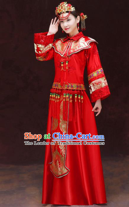 Chinese Traditional Bride Toast Clothing Red Xiuhe Suits Ancient Bottom Drawer Wedding Costumes for Women