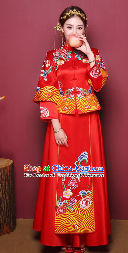 Chinese Ancient Wedding Costume Traditional Red Dress, China Ancient Bride Toast Clothing Embroidered Peony Xiuhe Suits for Women